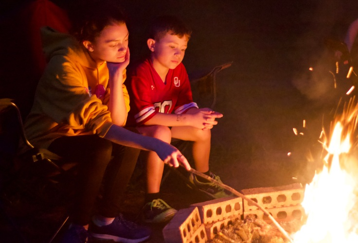 kids by the fire
